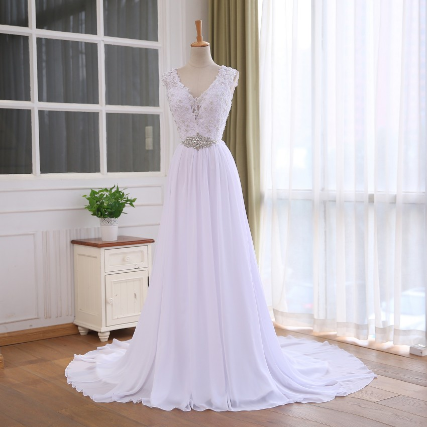 Unique Lace Top Chiffon Wedding Dress Dress Vestido De Casamento Crystal Robe De Mariage Cheap Bridal