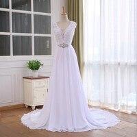 Unique Lace Top Chiffon Wedding Dress Dress Vestido De Casamento Crystal Robe De Mariage Cheap Bridal Gowns 2020 Fast Shipping