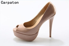 Carpaton nude high heels peep toe platform design sexy pumps for women party shoes in stock 10 cm and 12 cm stilettos heels(China)
