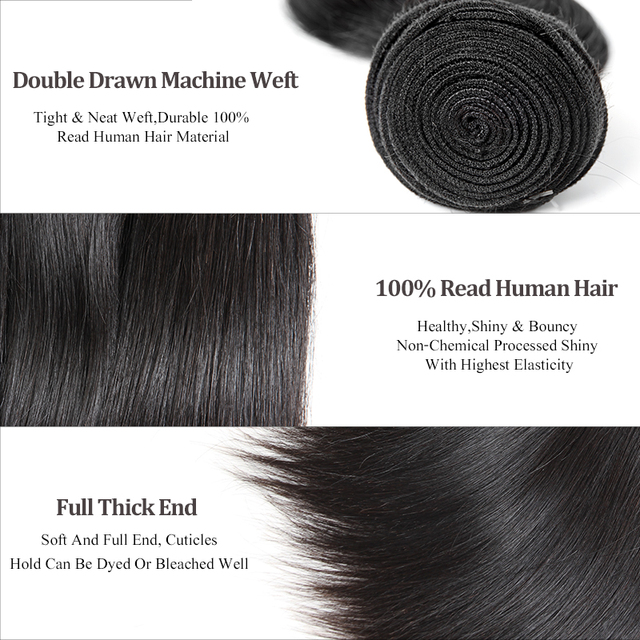 Peruvian Straight Virgin Human Hair Weaves Bundles 1/3/4Pcs
