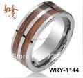 Free Shipping  Fashion Two Rosewood Koa Real Wood inlay  Tungsten Carbide Band Ring High Polish and Beveled Edges