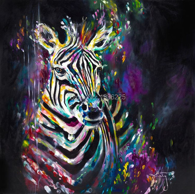delightful Painting On Black Canvas Part - 14: modern abstract Zebra oil painting hand painted black white wall  decorativie canvas art animals art paintings
