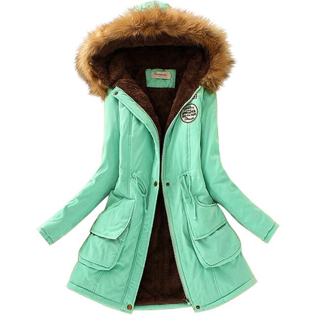 Novas Mulheres De Pele Gola Longo Casaco Parkas Mulheres Casacos Casuais algodão Outwear Outono Inverno Quente Casacos Plus Size Hoodies Para Baixo casaco