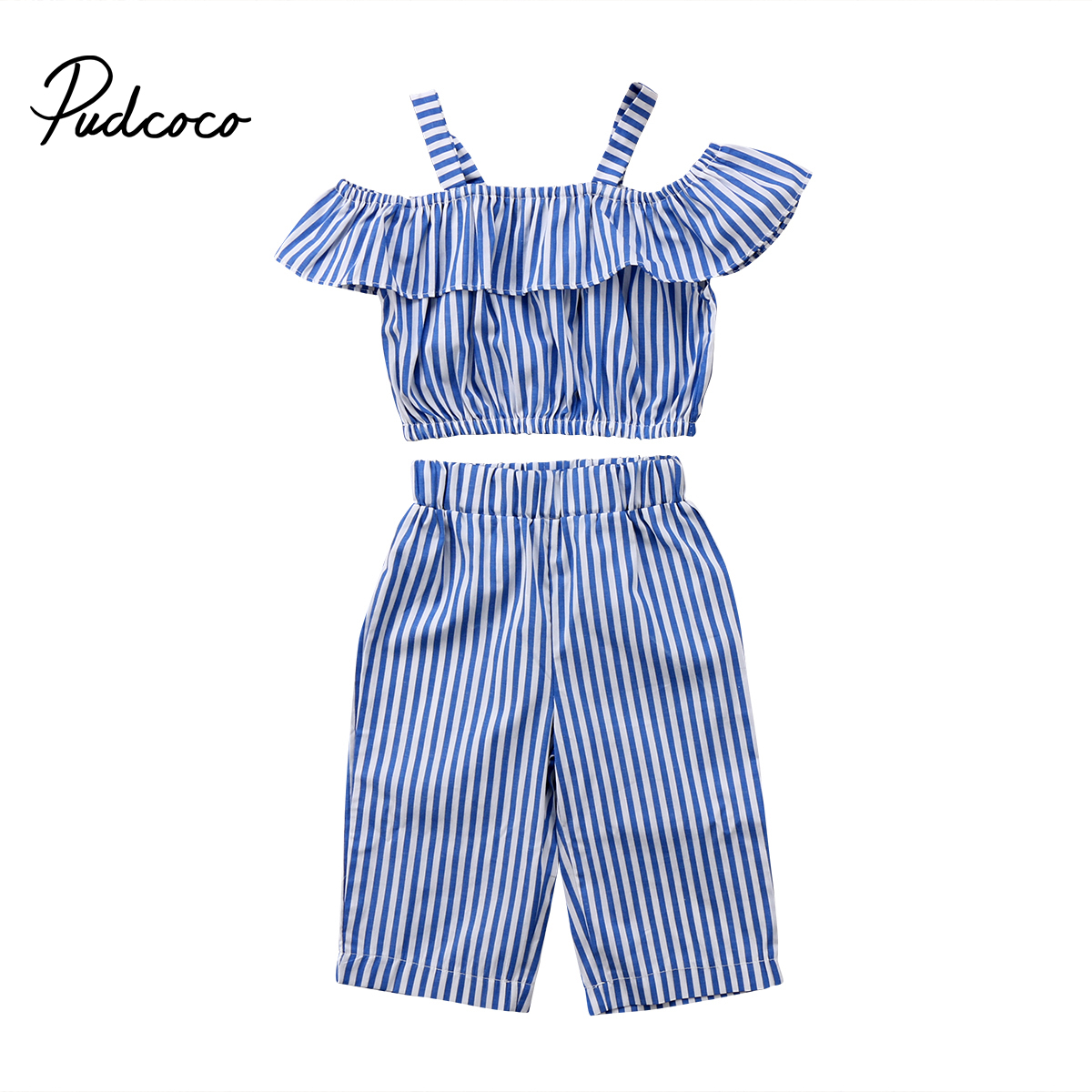 2PCS Toddler Kids Baby Girl Clothes Blue Stripy Tops+Shorts Outfit Clothes Sweet
