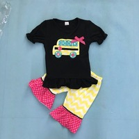 Back To School Girls Summer Clothes School Bus Design Black Top Decor Yellow Capris Children Clothing Set B001