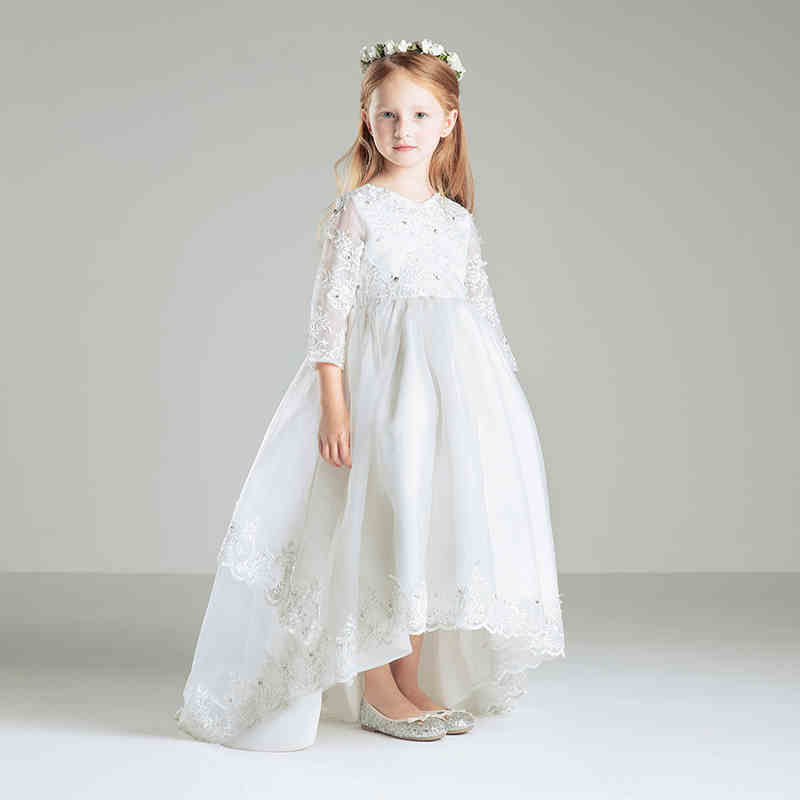 53cff600f5fd White Tulle Tutu Flower Girl Dresses 2015 New Long Sleeve Lace Princess Ball  Gowns Kids Infant Toddler Trailing Communion Dress-in Dresses from Mother  ...