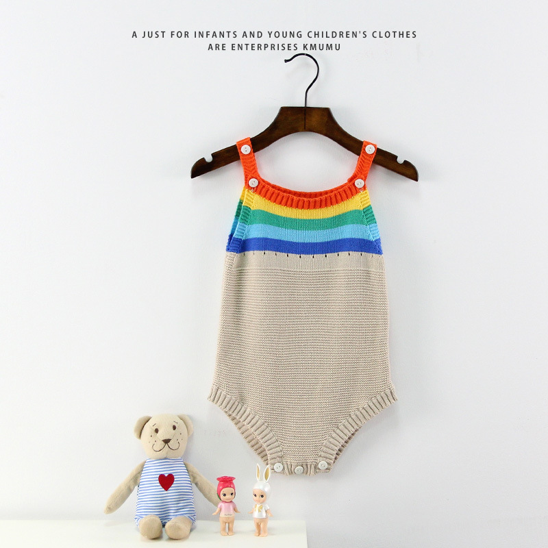 581f4ac721a6 Toddler Spring Summer Sweater Carton Rainbow Striped Baby Boys Girls ...
