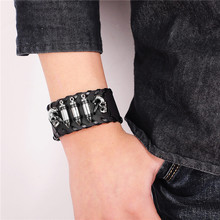 YAKAMOZ Rock Wide Cuff Bracelet Men Braided Rivet Wide Leather Bracelets Punk Wide Genuine Leather Bangles for Male Jewelry