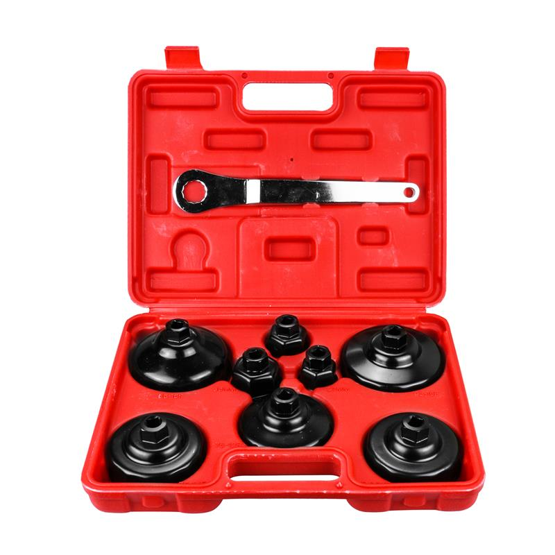 The oil filter cap wrenches 9PCS Oil Filter Wrench Kit Cap Engine Tool Remover for Auto Motorcycle Aluminum Alloy carbon steel engine oil filter hook wrench manually nut crescent barb type wrenches wholesale hot style