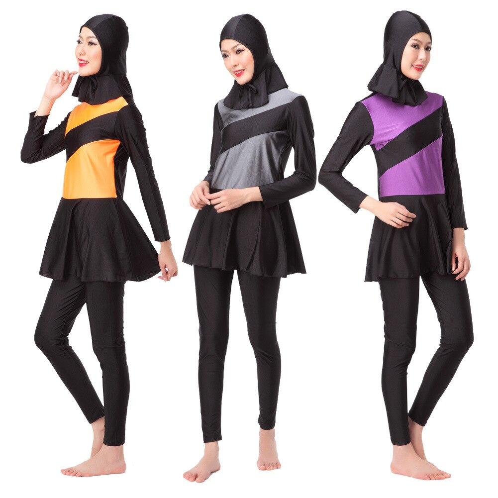 Nouveau maillot de bain musulman femmes maillot de bain pour spa visage complet Hijab vêtements de plage de natation à séchage rapide vêtements de Sport islamique Bikinis grande taille