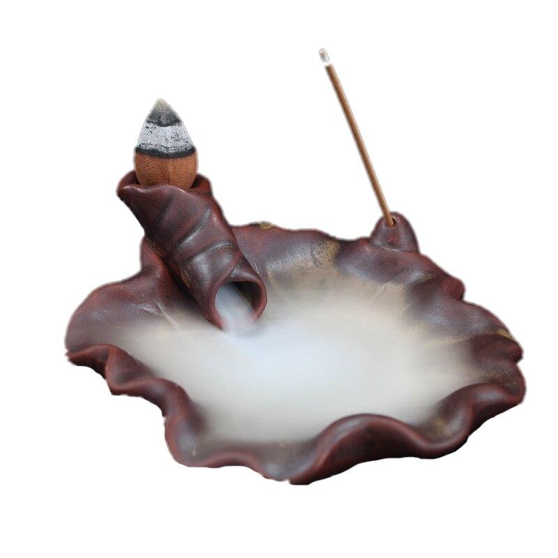 Small Lotus Leaf Retro Ceramic Smoke Backflow Censer Cone Incense Burner Incense Sticks Holder Home Decor Censer E $