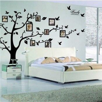 Envío Gratis: grande 200*250 Cm/79 * 99in negro 3D DIY Árbol de la foto PVC calcomanías de pared/adhesivos de la familia Mural arte decoración del hogar