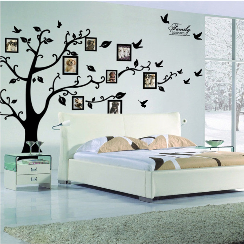 Gratis frakt: Stor 200 * 250Cm / 79 * 99in Svart 3D DIY Foto Tree PVC Veggoverføringsbilder / Lim Family Wall Stickers Mural Art Home Decor