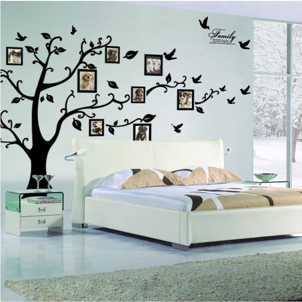 Frete Grátis: grande 200*250 Cm/79 * 99in Preto 3D DIY Da Foto Da Árvore Decalques de Parede de PVC/Adesivo Família adesivos de parede Mural Art Home Decor