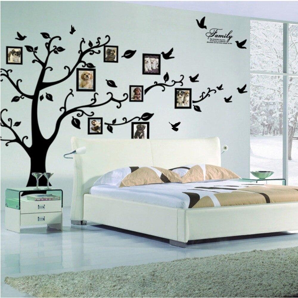 Livraison gratuite: grand 200*250 Cm/79 * 99in noir 3D arbre de photos à faire soi-même PVC Stickers muraux/adhésif famille Stickers muraux Art Mural décor à la maison
