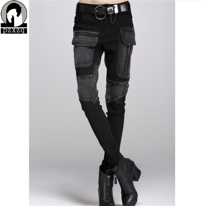Gratis frakt Europe Sexy Black Jeans Woman Pencil Pants Høst Vinter Baggy Casual Jeans Women Loose Haren Bukser Jeans Feminina
