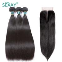 Straight Hair Bundles With Closure Brazilian Straight Human Hair Weave 3 Bundles With Closure Sexay Human