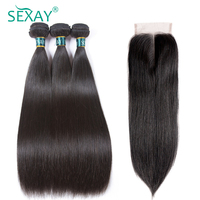 Straight Hair Bundles With Closure Brazilian Straight Human Hair Weave 3 Bundles With Closure Sexay Human