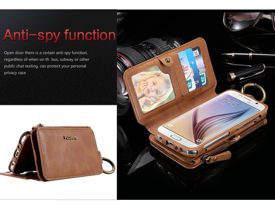 Floveme retro skóra telefon case do samsung galaxy note 3 4 5/s7/s6 edge plus metalowy pierścień coque karty portfel ochronne pokrywa 6