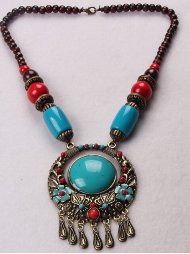 Statement Maxi Tibet Vintage Ethnic Bohemian Colorful Beads Gem Stone Water Drop Tassels Choker Necklaces Pendants For Women chic tassels bead knotted bohemian slender waist rope for women