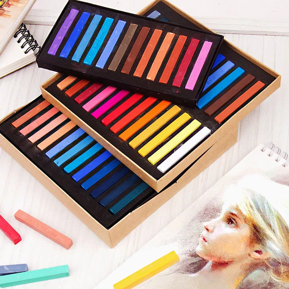 Marie's 12 24 36 48 Colors/Set Painting Crayons Soft Dry Pastel Art Drawing Set Chalk Colors Crayon Stationery for Paintings 12 24 colors set thin handle wax crayon children drawing paint silky colored pen crayons art school supplies stationery page 5