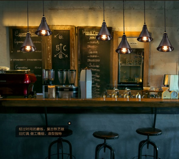 60W Edison RH Vintage Pendant Lights With Metal Lampshade Retro Loft Industrial Lamp Lamparas Pendente De Techo Hanglamp