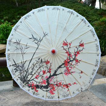 Chinese Style Classical Handicraft Oil Paper Umbrella Plum Flower Prop Catwalk Show Dance Decorative Umbrella Ladies Umbrella 翻轉 貓 砂 盆