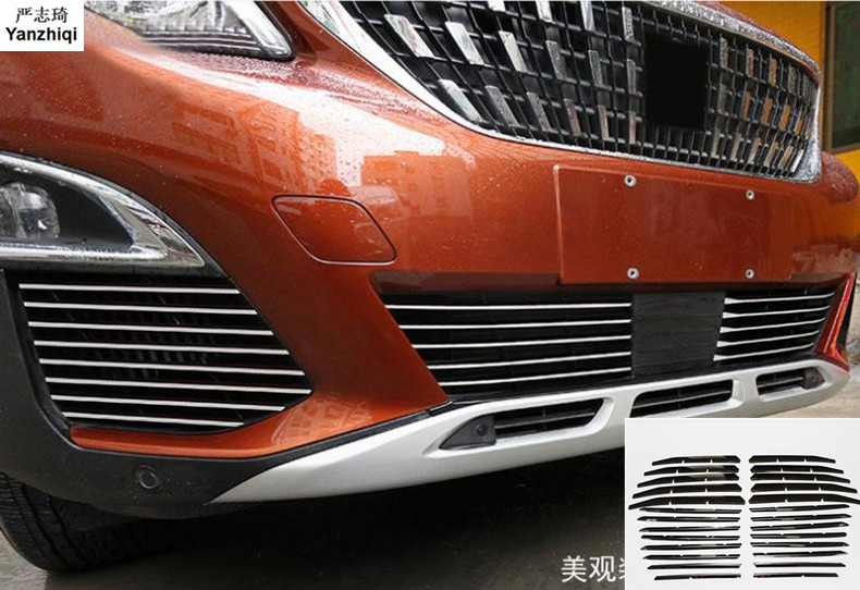 For Peugeot 3008 GT 2016 2017 2018 Exterior Car Styling Accessories Stainless Steel Front Fog Light & Bottom Grille Trim