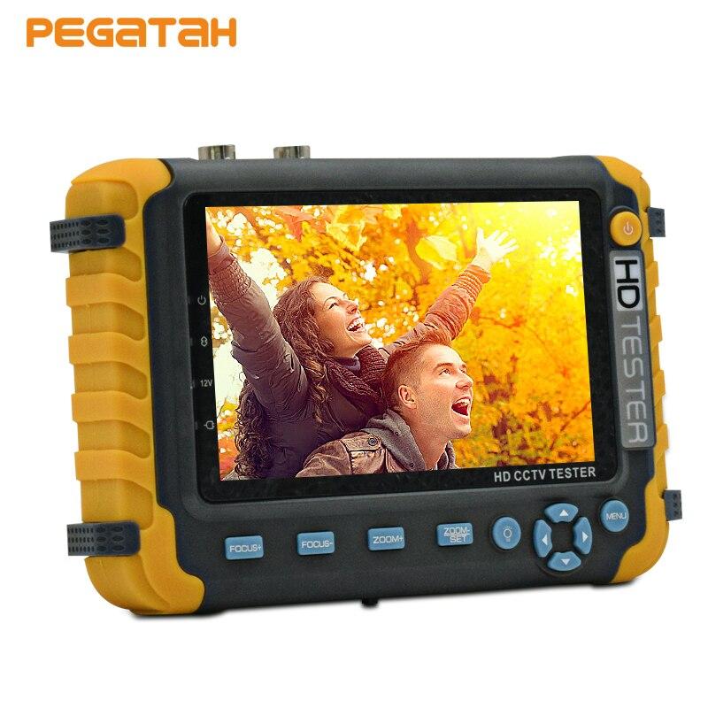 5 pouce TFT LCD 5MP 1080 p UTC TVI AHD CVI Analogique CVBS Caméra de sécurité CCTV testeur moniteur Soutien VGA entrée HDMI UTP Câble test