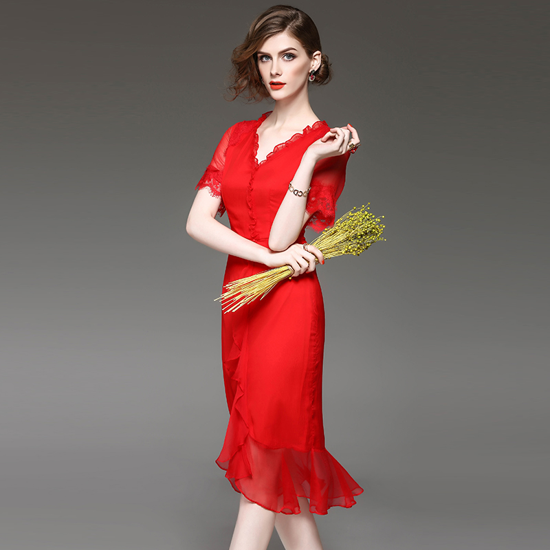 Dressing Gowns For Women Pure Silk V Collar Tail Dress Summer Red Black Wrinkled Lace Beach