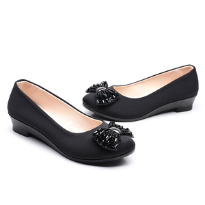 Image 3 - Women Ballet Bow Shoes Black Women Wedges Shoes For Office Work Boat Shoes Cloth Sweet Loafers Womens Pregnant Wedges Shoes