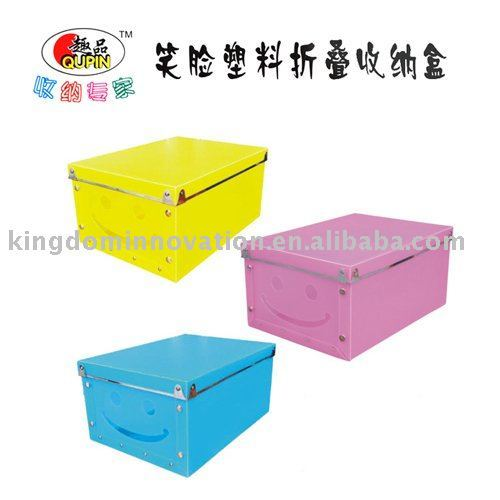 Cute smile covered storage box folding / storage box / storage box (blue),best-selling