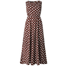 Elastic Waist White Dot Midi Dresses Vestidos Polka Dot Chiffon Dress Women Sleeveless Long New 2019 Summer Beach Boho Dress stylish sleeveless polka dot chiffon dress for women