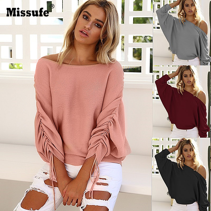 Missufe 2017 Autumn Winter Sweater For Women Casual Off Shoulder Sexy Sweaters Beam Sleeve Jumpers Pullover Loose Fit Tops