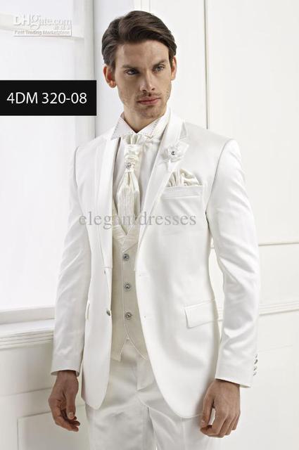Slim Fit Custom Made Groom White Tuxedos Lapel Man Suit Ivory Groomsman Bridegroom Wedding