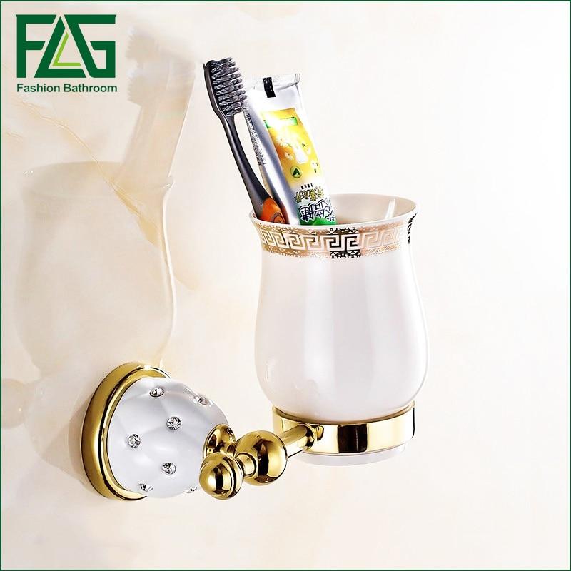FLG  Bathroom Accessories Crystal  Metal Single Cup Holders teeth brush cup holder Golden Crystal Tumbler Holders flg bathroom accessories wall mounted tumbler holder cup
