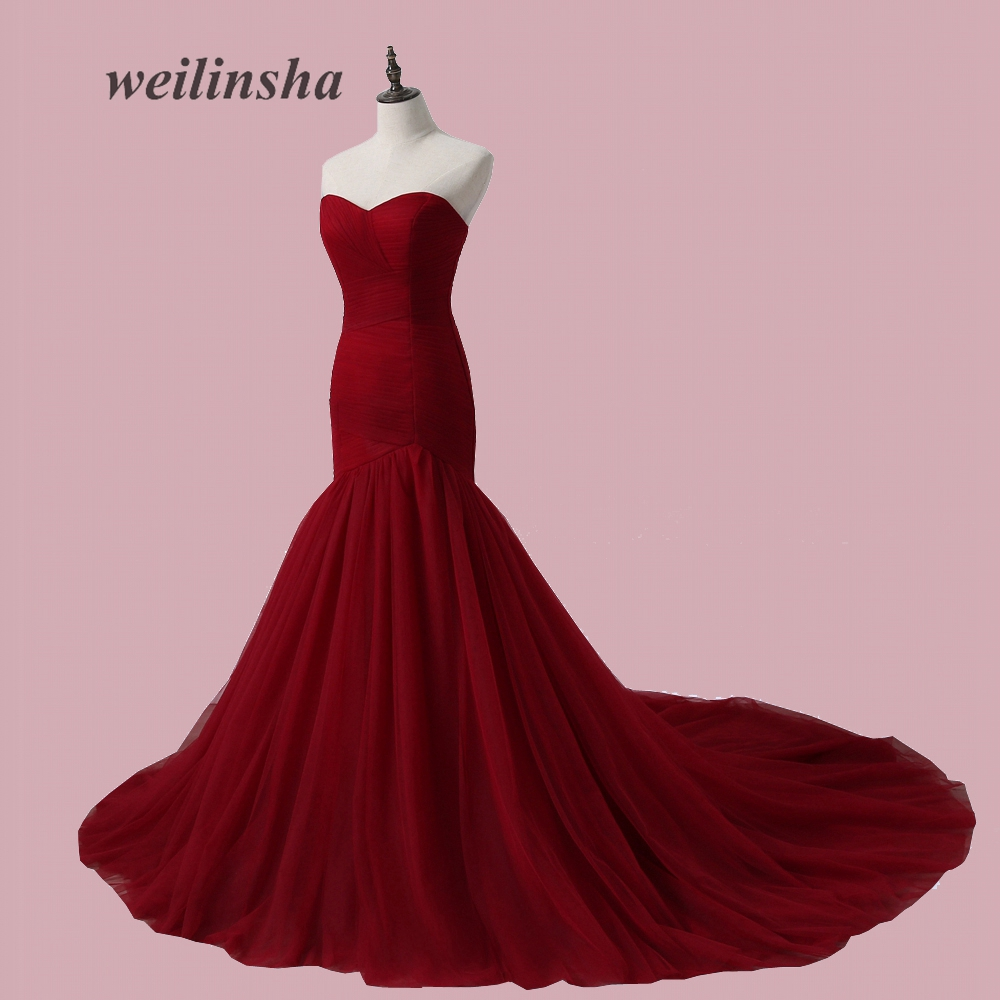 Vestido de novia sin tirantes sin tirantes ADLN plisado Tulle sirena ...