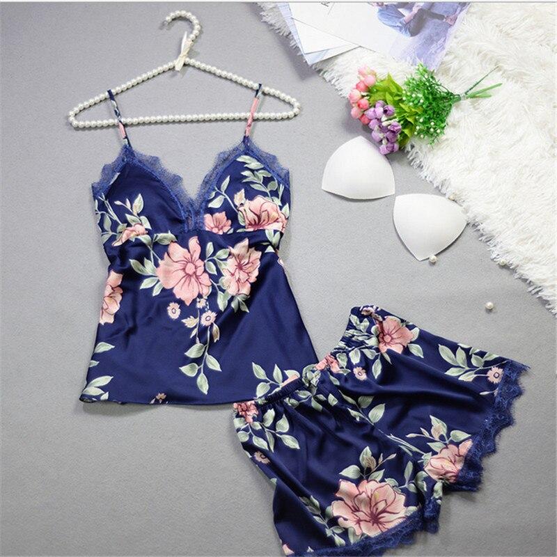 New Sleep Lounge Women Pajama Set Sexy Satin Sleepwear Women Pyjama Femme Fashion Flower Print Pajamas For Women Sling Nightwear