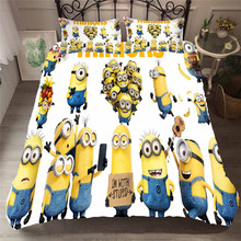 HELENGILI 3D Bedding Set Little Yellow Man Print Duvet Cover Bedcloth with Pillowcase Bed Home Textiles #FILM-21