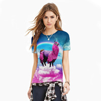 2017 Rainbow Grass Mud Horse Funny T Shirts Women Casual Style Tees Fashion Streetwear Animal Clothing