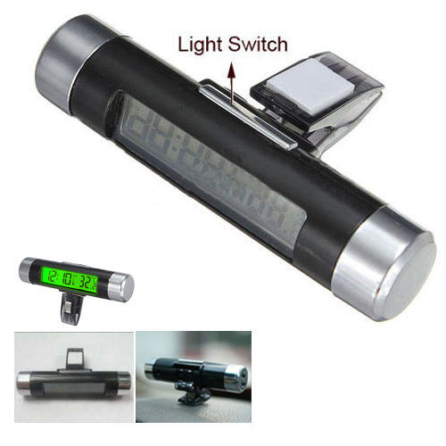 LNHF Car Dash Air Vent Digital LCD Green Backlight Clip-on Clock Thermometer Calendar