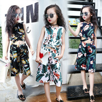 2017 Summer Girls Clothing Sets Fashion Cotton Print Flower Short Sleeve T Shirt And Shorts Baby