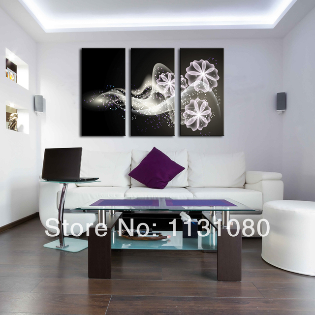 No Frame Canvas Only Canvas Painting 3 Pieces White Light Show Flower Abstract Home Decor Printed