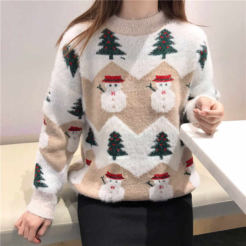 2019 Ugly Christmas Sweater autumn and winter new fashion thickening hippocampus Christmas snowman sweater sweater coat female