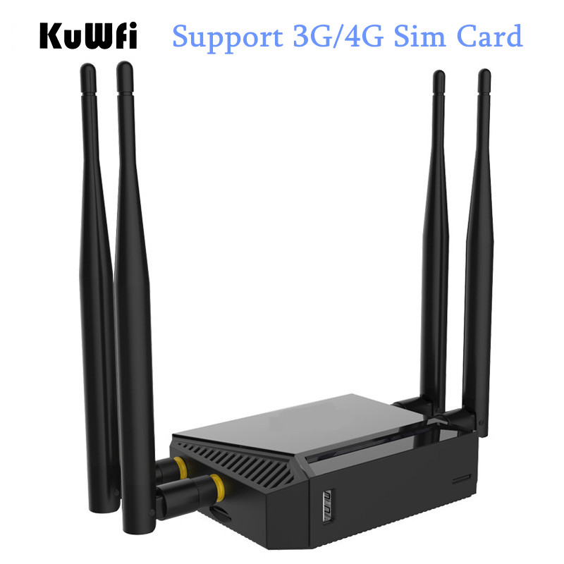 High Power OpenWrt 300Mbps Wireless Router 3G/4G Wifi Router Wifi Repeater Through Wall AP Mode Router With SIM Card Slot kuwfi 3g 4g sim card slot wifi router openwrt 300mbps high power wireless router repeater with 4 5dbi antenna