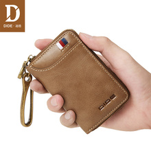 DIDE Large Capacity Genuine Leather Car Key Wallets Men Fashion Mini Purse Small  Coin Wallet Male Keys Case housekeeper