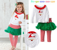 New Design Autumn girls long sleeve Christmas Santa Claus shirt + dot Culottes 2pcs set Children kids Xmas fashion wear 5set/lot