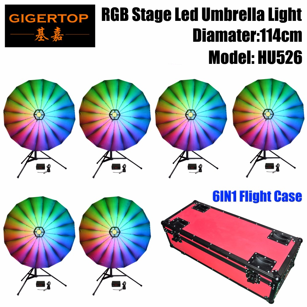 TIPTOP 6IN1 Flightcase Pack RGB Led Umbrella Light 114cm Wide Linear Dimmer/Strobe Effect Color Changing Indoor Decoration Led
