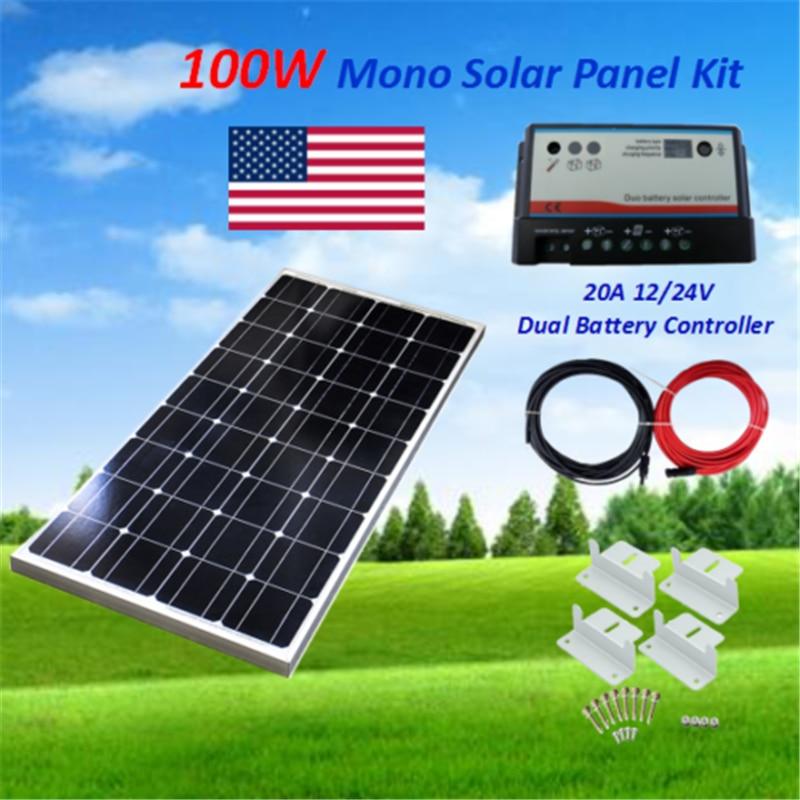 Monocrystalline Solar Panel 100W Solar Panel Kit off Grid System 30A Dual battery Controller 12V Battery RV