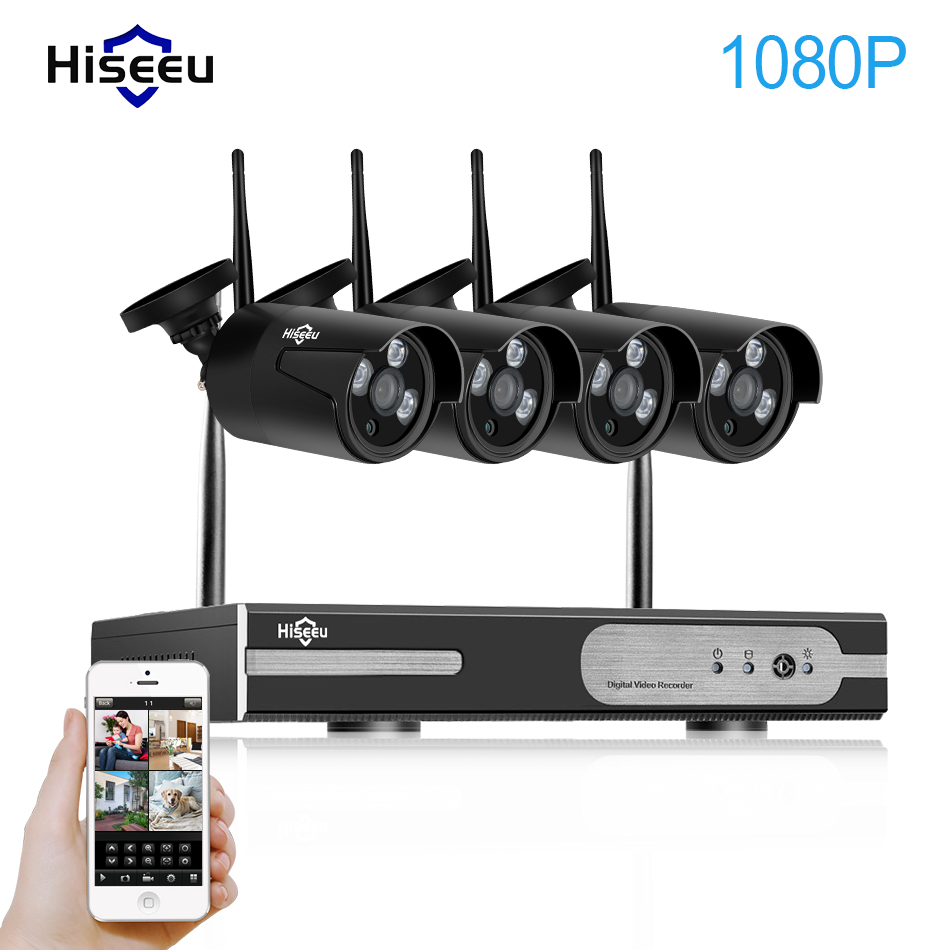 1080P 4CH Wireless NVR CCTV System wifi 2.0MP IR Outdoor Bullet P2P IP Camera Waterproof Security Video Surveillance Kit hiseeu 8ch nvr kit 720p 3 6mm waterproof outdoor onvif ir ip camera 1 0mp and 8ch 1080p 720p nvr for cctv security system free shipping